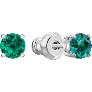 Swarovski Attract Stud Pierced Earrings, Green, Rhodium plated