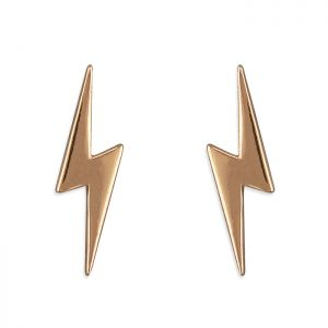 Lightning Bolt Earrings - Rose Gold Plated Sterling Silver