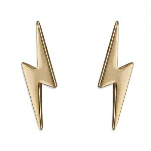 Lightning Bolt Earrings - Gold Plated Sterling Silver