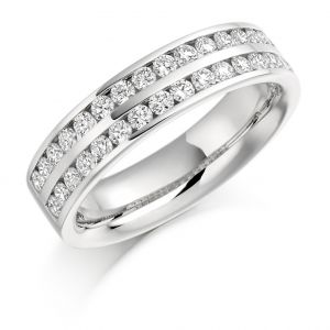 Raphael Collection Half Eternity Ring - Channel Set Round Brilliant Double Band