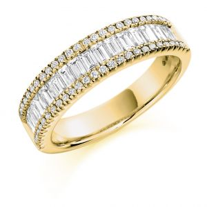 Raphael Collection Half Eternity Ring - Round and Baguette Cut Diamonds