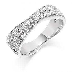 Raphael Collection Half Eternity Ring - Triple Crossover Grain Set Diamonds