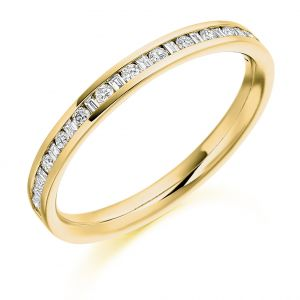 Raphael Collection Half Eternity Ring - Channel Set Round and Baguette Diamonds