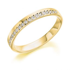 Raphael Collection Half Eternity Ring - Offset Grain Set Diamonds