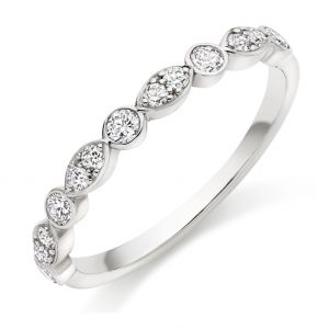 Raphael Collection Half Eternity Ring, Round Brilliant Rubover Marquise Setting