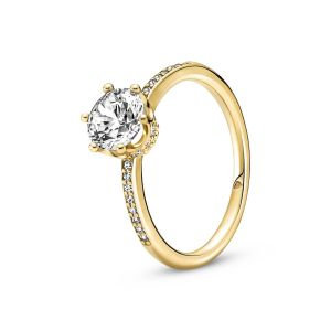 Pandora Clear Sparkling Crown Solitaire Ring - Gold-tone Plating 168289C01