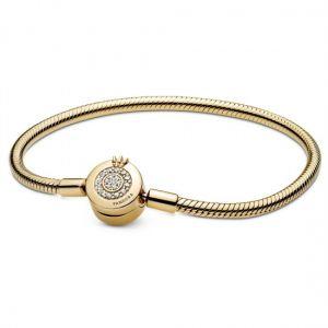 Pandora Moments Sparkling Crown O Snake Chain Bracelet - 14K Gold-plated