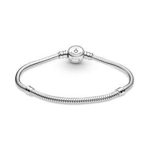 Pandora Moments Sparkling Blue Disc Clasp Snake Chain Bracelet-599288C01
