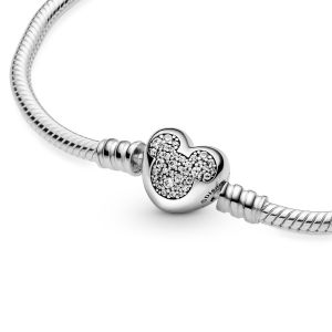 Disney Pandora Moments Mickey Mouse Heart Clasp Snake Chain Bracelet-599299C01
