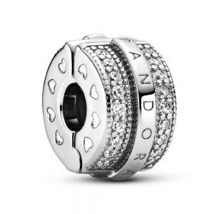 Pandora Sparkling Pavé Lines & Logo Clip Charm 799042C01