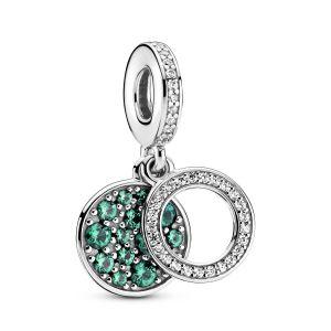 Pandora Sparkling Green Disc Double Dangle Charm-799186C02
