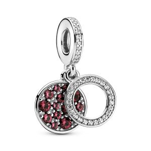 Pandora Sparkling Red Disc Double Dangle Charm-799186C03