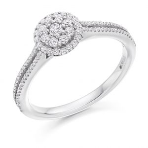 Round Brilliant Diamond Halo Ring with Double Band