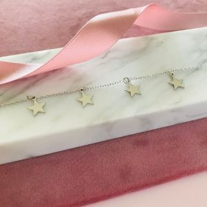 Sterling Silver Dainty Star Bracelet - Rhodium Plated