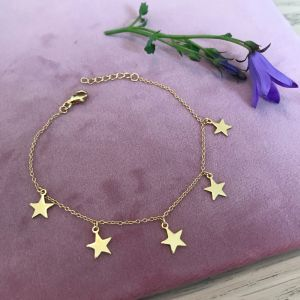 Sterling Silver Dainty Star Charm Bracelet - 18ct Gold Plated