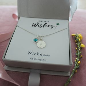 October Birthstone and Disc Necklace - Sterling Silver