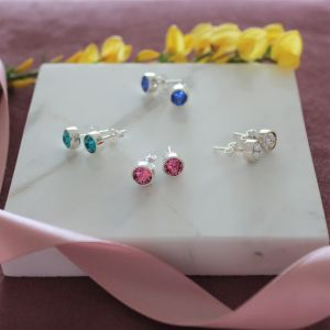 December Birthstone Earrings - Sterling Silver
