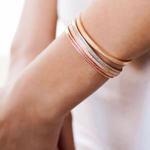 Sif Jakobs Valiano Bangle, gold with pink zirconia