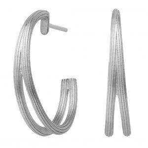 byBiehl Isla Duo Medium Brushed Silver Hoops