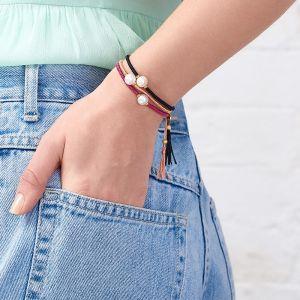 Jersey Pearl Tassel Bracelet, Raspberry