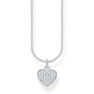 Thomas Sabo Silver and White Stone Pave Heart Necklace KE2046-051-14-L45v