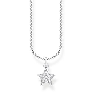 Thomas Sabo Silver annd White Stone Pave Star Necklace KE2052-051-14
