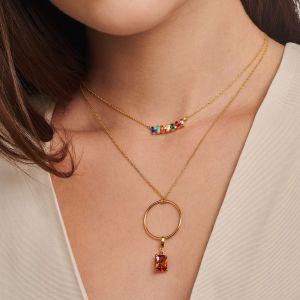 Thomas Sabo Colourful Baguette and Round Stone Necklace KE2095-488-7-L45V