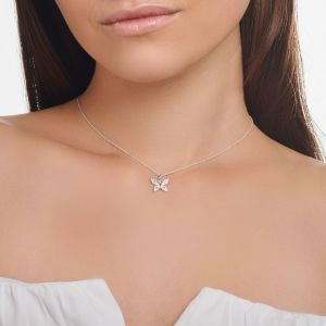 Thomas Sabo Butterfly Necklace with White Stones in Silver KE2102-051-14-L45V