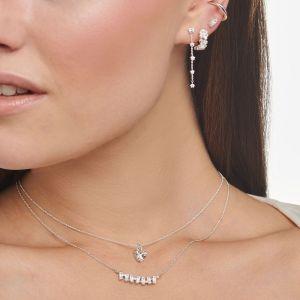 Thomas Sabo White Stone Heart Necklace in Silver KE2105-051-14-L45V