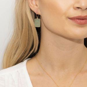 Sarah Alexander Mesmerise Green Aventurine Square Drop Earrings