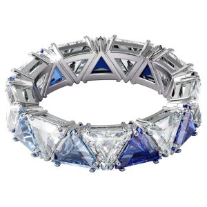 Swarovski Millenia Ring with Triangle Cut Crystals - Blue and White