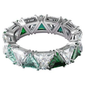 Swarovski Millenia Ring with Triange Cut Crystals - Green and White
