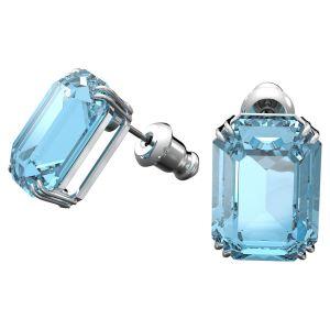 Swarovski Millenia Octagon Crystal Stud Earrings - Blue with Rhodium Plating
