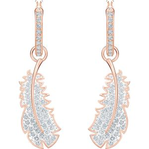 Swarovski Naughty Hoop Pierced Earrings, White and Rose-Gold Tone