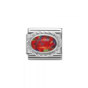 Nomination Classic Oval Stones Red Opal Charm - Sterling Silver Twist Setting