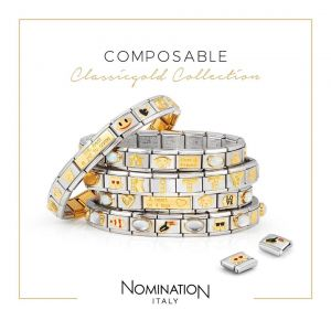 Nomination Gold and Zirconia Classic Letter Charm - M