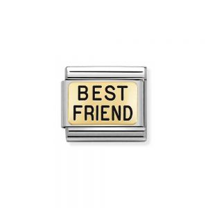NOMINATION Composable Classic PLATES in Steel and 750 Gold BEST FRIEND