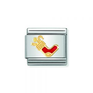 NOMINATION COMPOSABLE Classic CHRISTMAS in Stainless Steel with Enamel and 18k Gold Befana Stocking