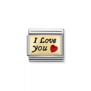 NOMINATION Composable Classic PLATES Steel, Enamel and 18K Gold I Love You