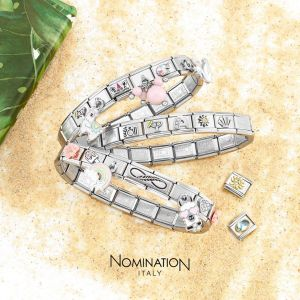 NOMINATION Composable Classic OVAL HARD STONES in stainless steel with 9K rose gold WHITE MOTHER OF PEARL