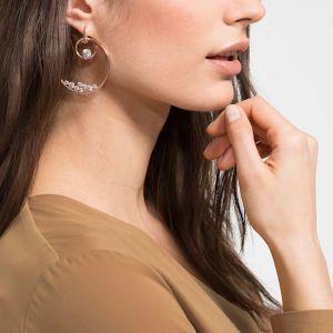 Swarovski North Hoop Earrings, White, Rose Gold Plating 5493391
