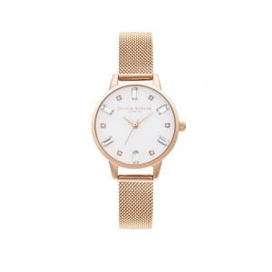 Olivia Burton Bejewelled White Dial and Rose Gold Mesh Watch OB16BJ02