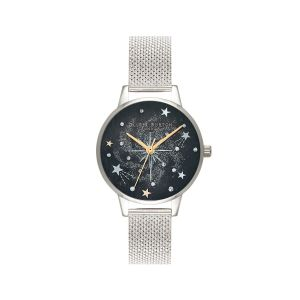 Olivia Burton Celestial Midi Dial Silver Mesh Watch OB16GD85