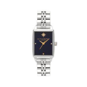 Olivia Burton Celestial Navy Sunray Rectangular Silver Bracelet Watch OB16GD88