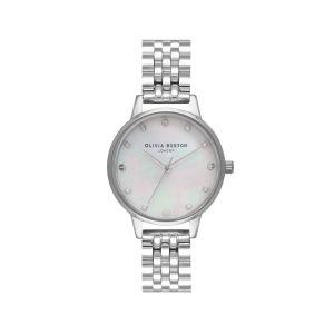 Olivia Burton Mother of Pearl Midi Dial Silver Link Bracelet Watch OB16SE09