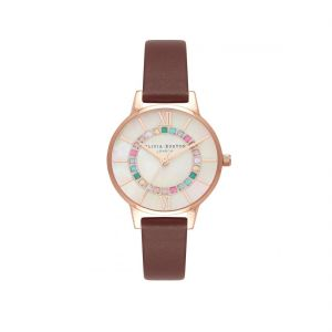 Olivia Burton Sparkle Wonderland Rose Gold and Burgundy Strap Watch OB16WD98