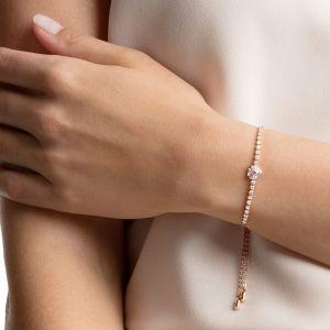 Swarovski One Bracelet, Pink, Rose Gold Plating