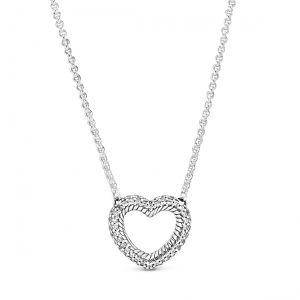 Pandora Pavé Snake Chain Pattern Open Heart Collier Necklace 45cm  - 399110C01