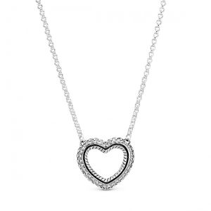 Pandora Pavé Snake Chain Pattern Open Heart Collier Necklace 45cm  - 399110C01