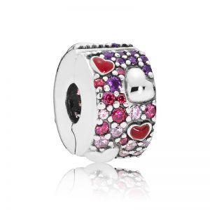 Pandora Asymmetrical Hearts Pavé Clip Charm 797838CZRMX